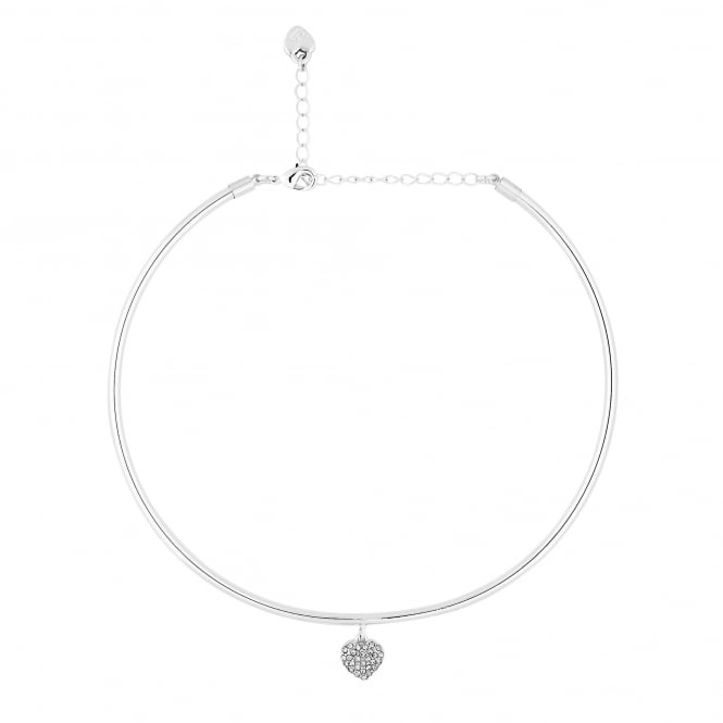 Silver Heart Charm Collar Choker Necklace