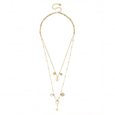 Gold Heart Charm Multi Row Necklace