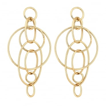 Gold Interlocking Circle Drop Earring