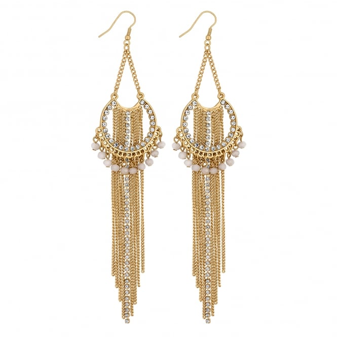 Gold Layered Chain Drop Earring