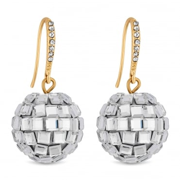 Gold Mirror Ball Drop Earring