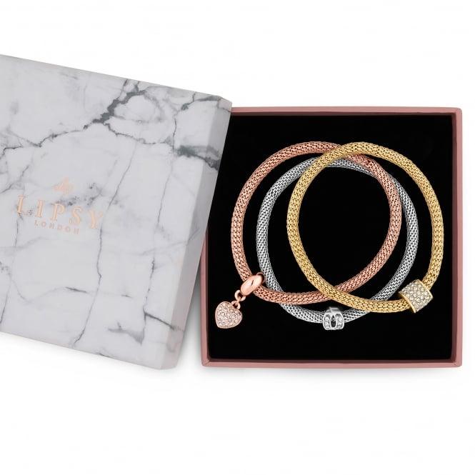 Gold / Silver/ Rose Gold Mesh Charm Gift Bracelet - Pack of 3