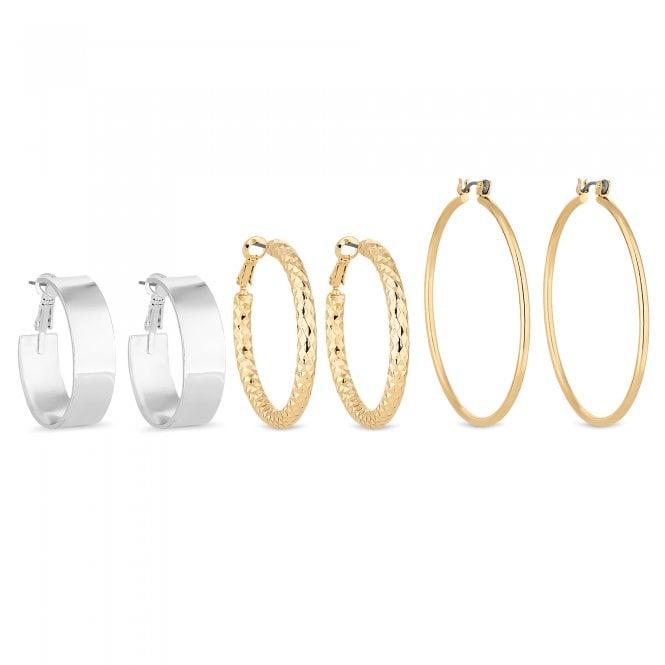Multi Tone Hoop Earring Set