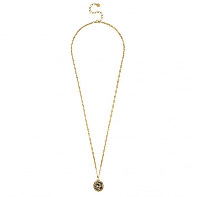 Gold Pave Crystal Long Ball Necklace