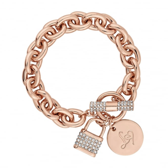 Rose Gold Pave Crystal Padlock Chain Bracelet