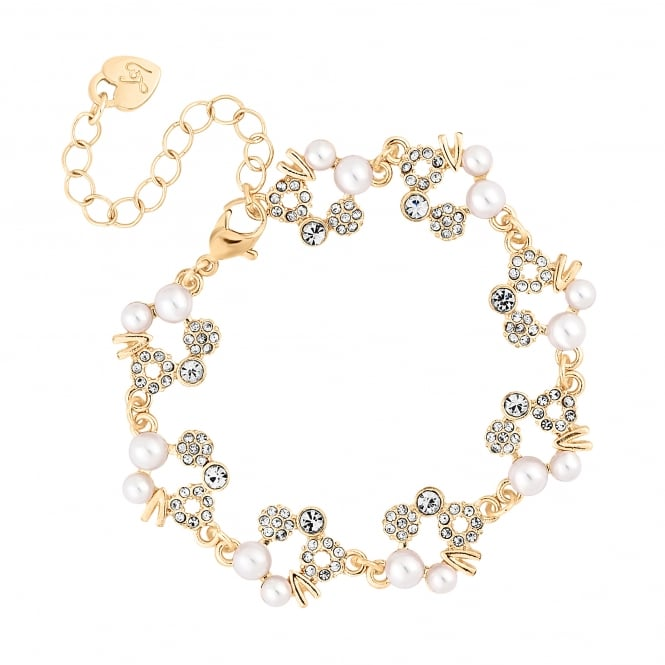 Gold Pearl And Crystal Hoop Bracelet