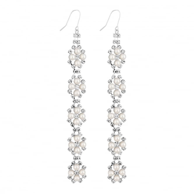 Silver Pearl And Crystal Linear Drop Earring