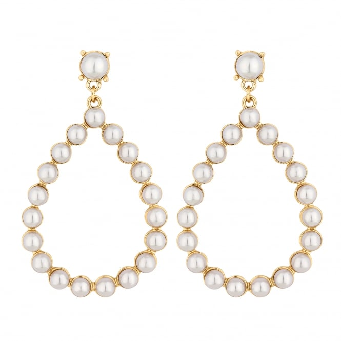 Lipsy Gold Pearl Pear Drop Hoop Earrings