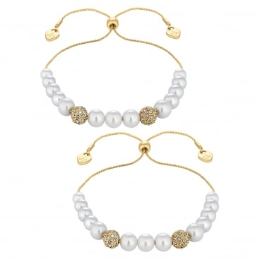 Gold Pearl Toggle Bracelet - Pack of 2