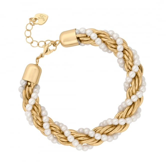 Gold Pearl Twist Chain Bracelet