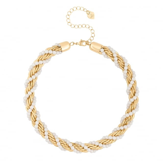 Lipsy Gold Pearl Twist Chain Necklace