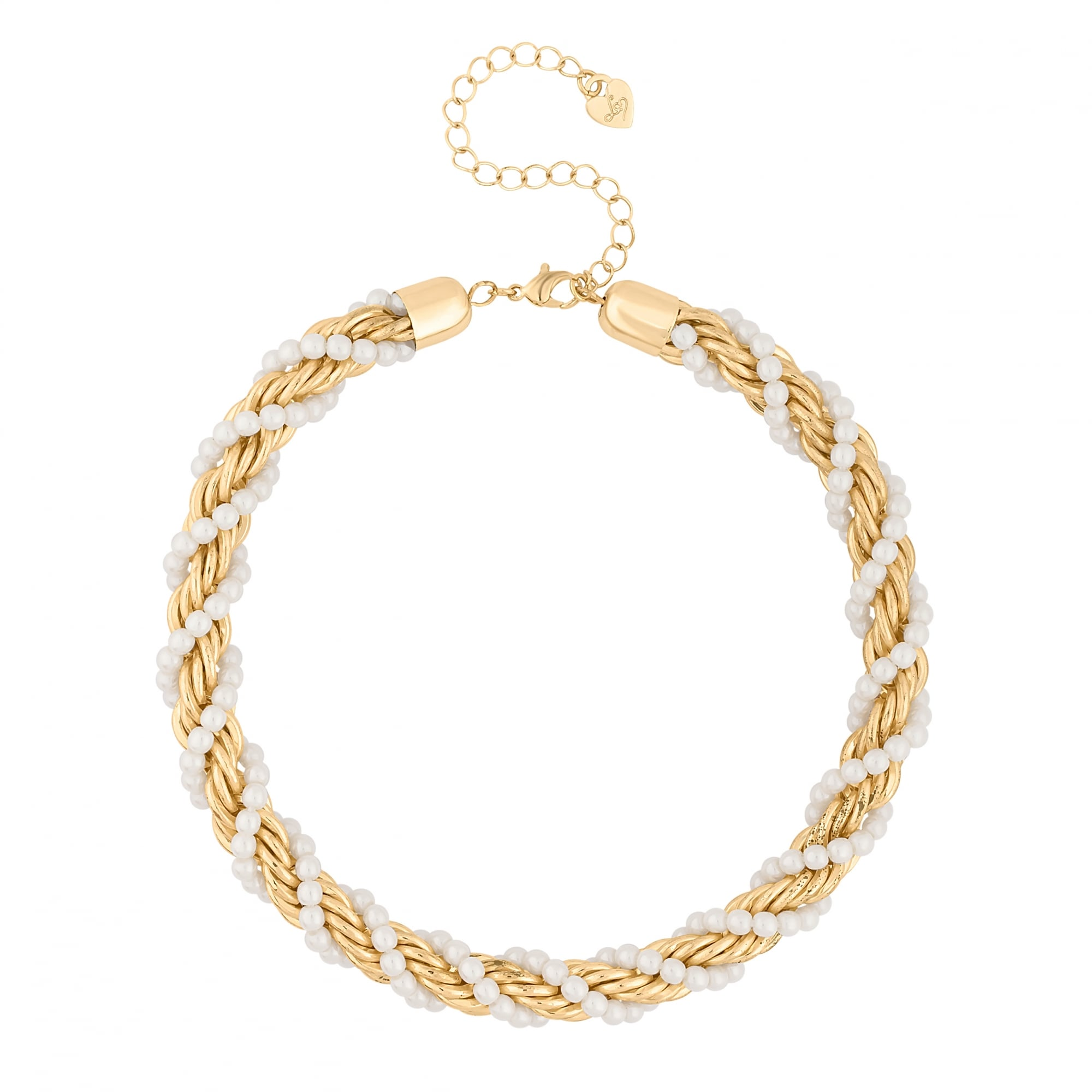 Gold Pearl Twist Chain Necklace
