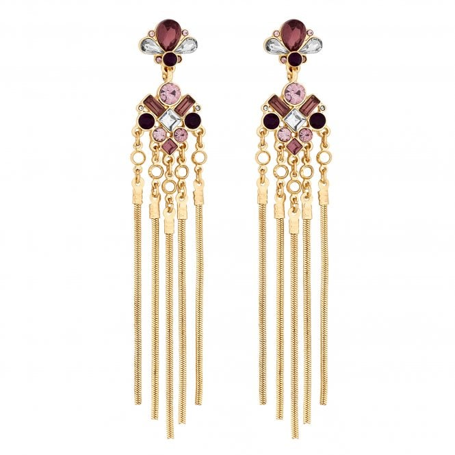 Pink Crystal Chain Tassel Drop Earrings