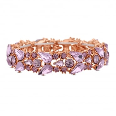 Rose Gold Pink Crystal Cluster Stretch Bracelet