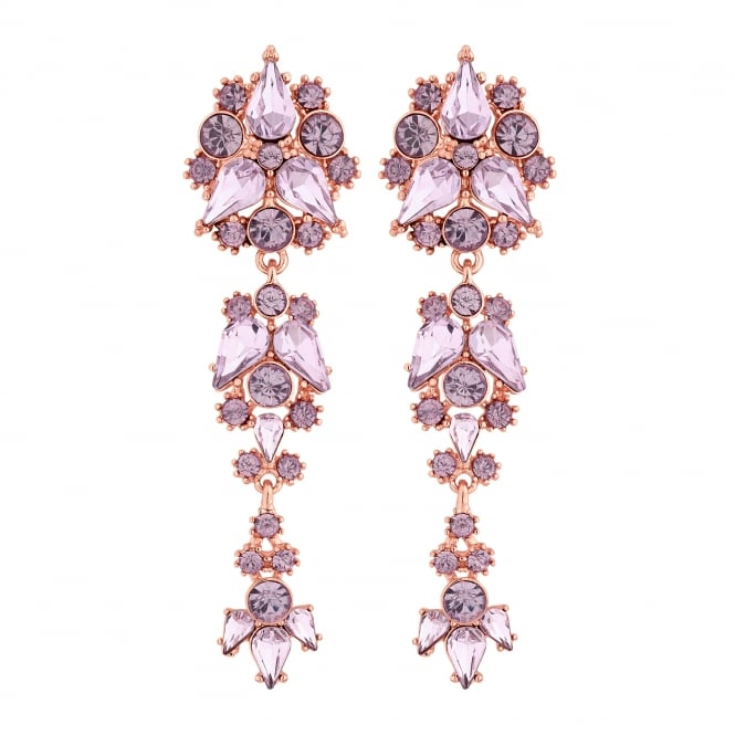 Rose Gold Pink Crystal Cluster Drop Earring