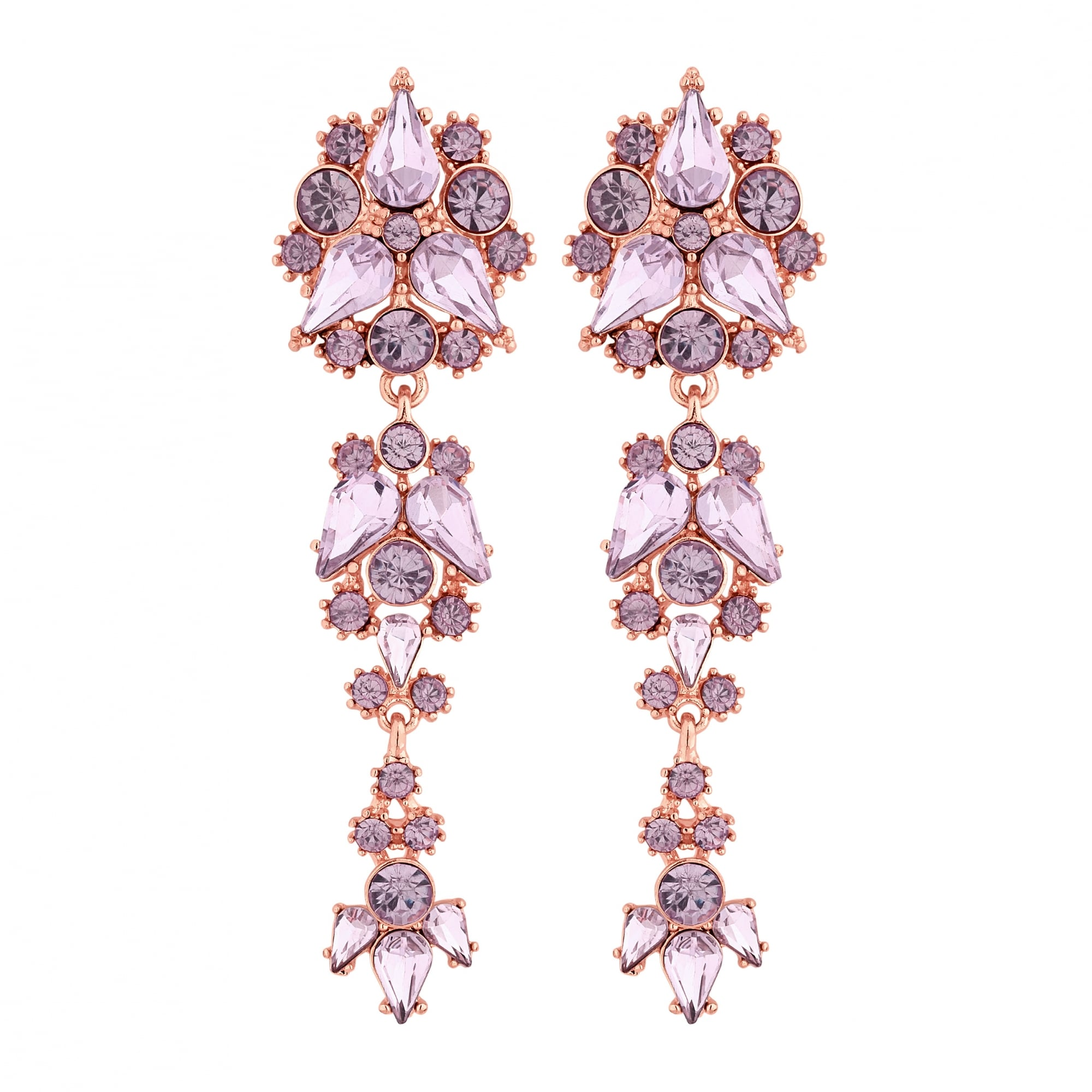 Rose Gold Pink Crystal Cer Drop Earring