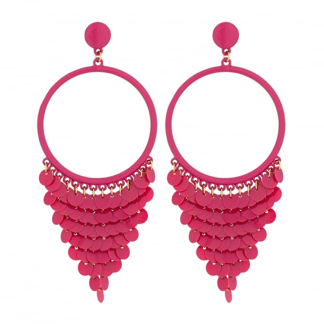 Pink Sequin Fringed Statement Earrings