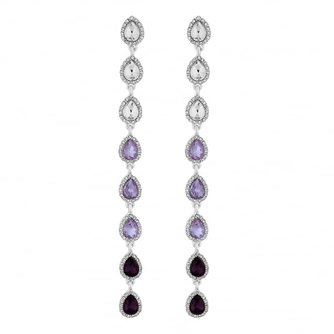 Purple Ombre Crystal Drop Earrings