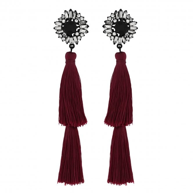 Red Double Tassel Drop Earrings