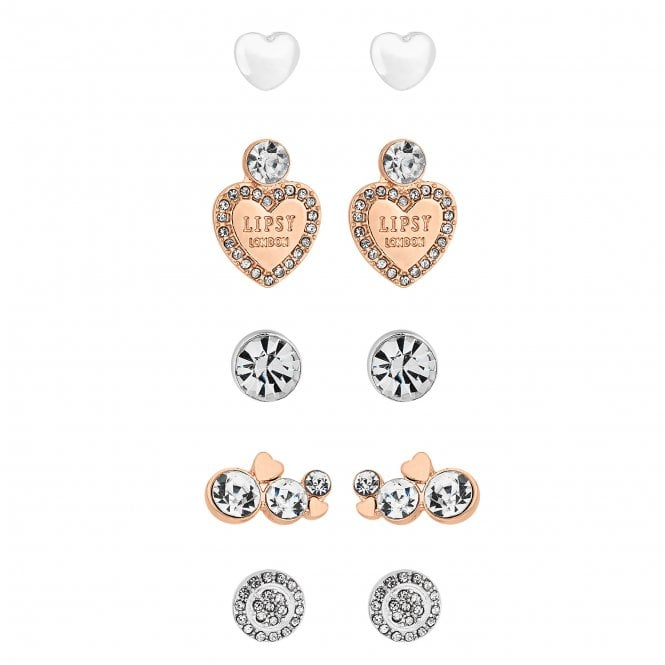 Rose Gold And Silver Crystal Earring Set