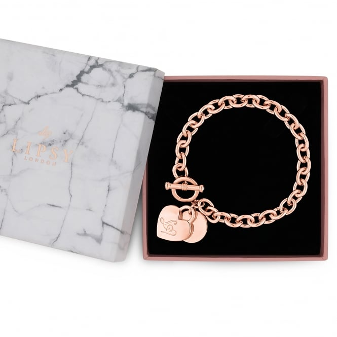 Rose Gold Chain Heart Charm Gift Bracelet