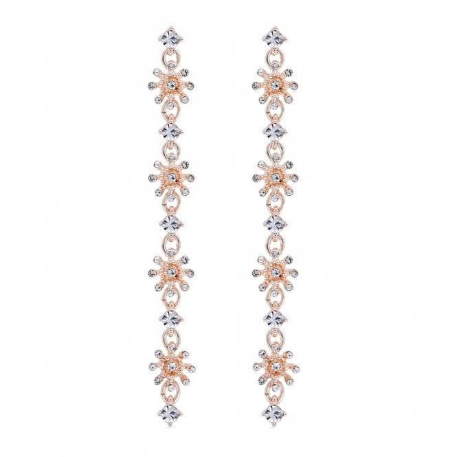 Jewellery Women's Lipsy Rose Gold Crystal Floral Linear Drop Earring