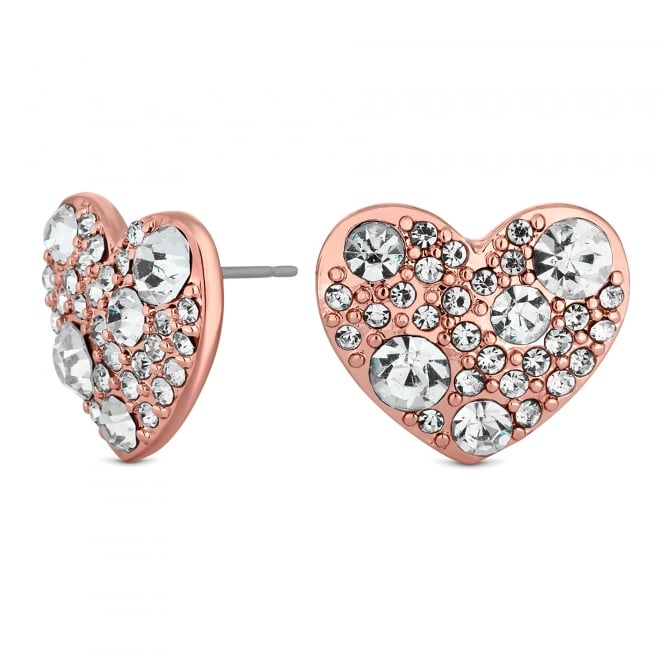 Rose Gold Crystal Heart Stud Earrings