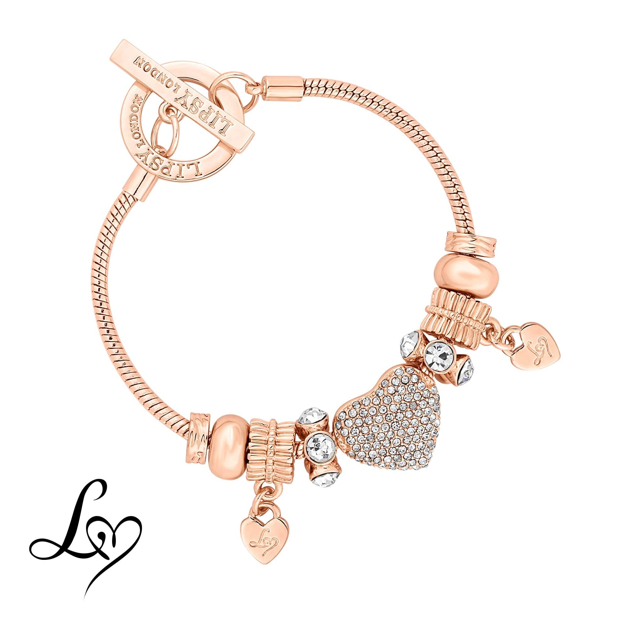 e6d6156483a33 Rose Gold Crystal Pave Charm Gift Bracelet