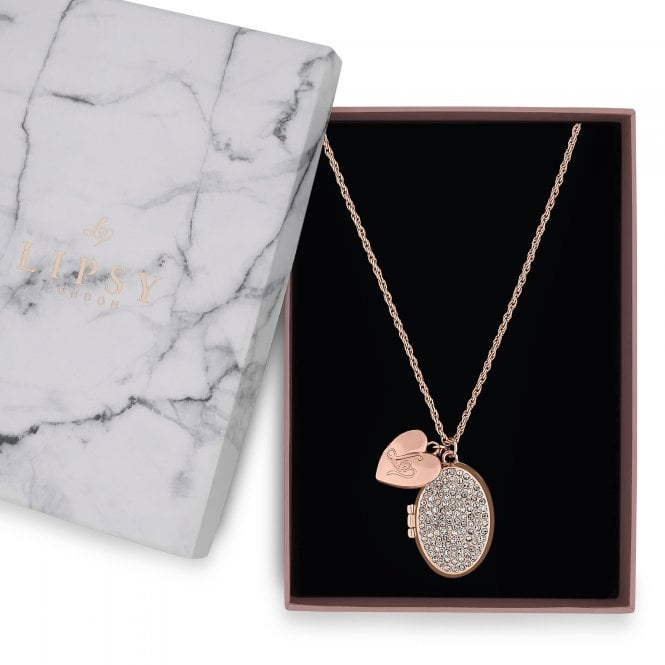 Rose Gold Heart And Crystal Oval Locket Necklace
