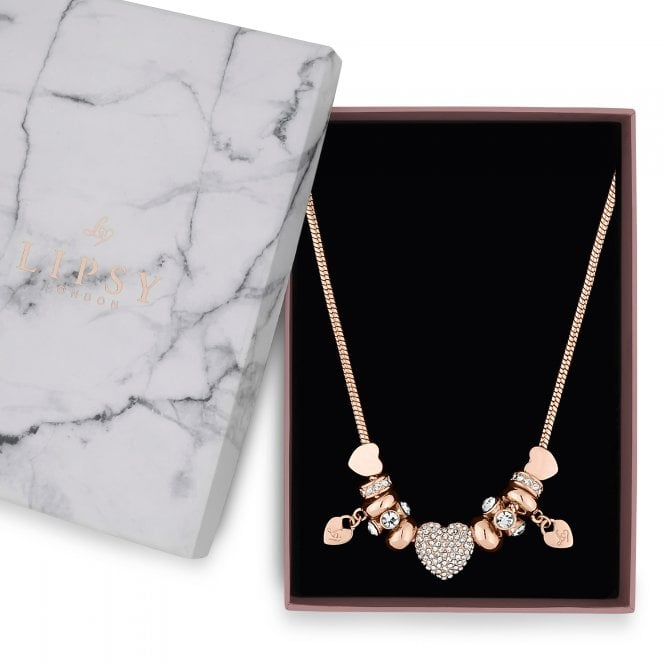 Rose Gold Pave Crystal Heart Charm Necklace