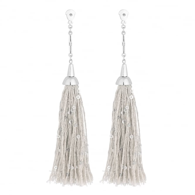 Lipsy Silver Sequin Tassel Drop Earring