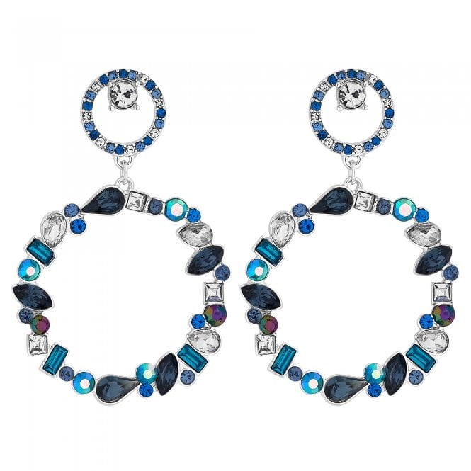 Silver Blue Crystal Cluster Circle Drop Earring