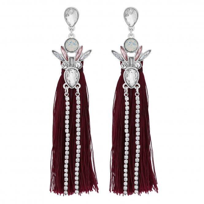 Silver Crystal Cluster Red Tassel Statement Earring