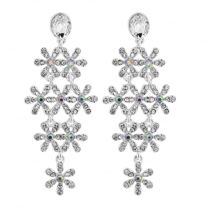 Silver Crystal Daisy Drop Earrings