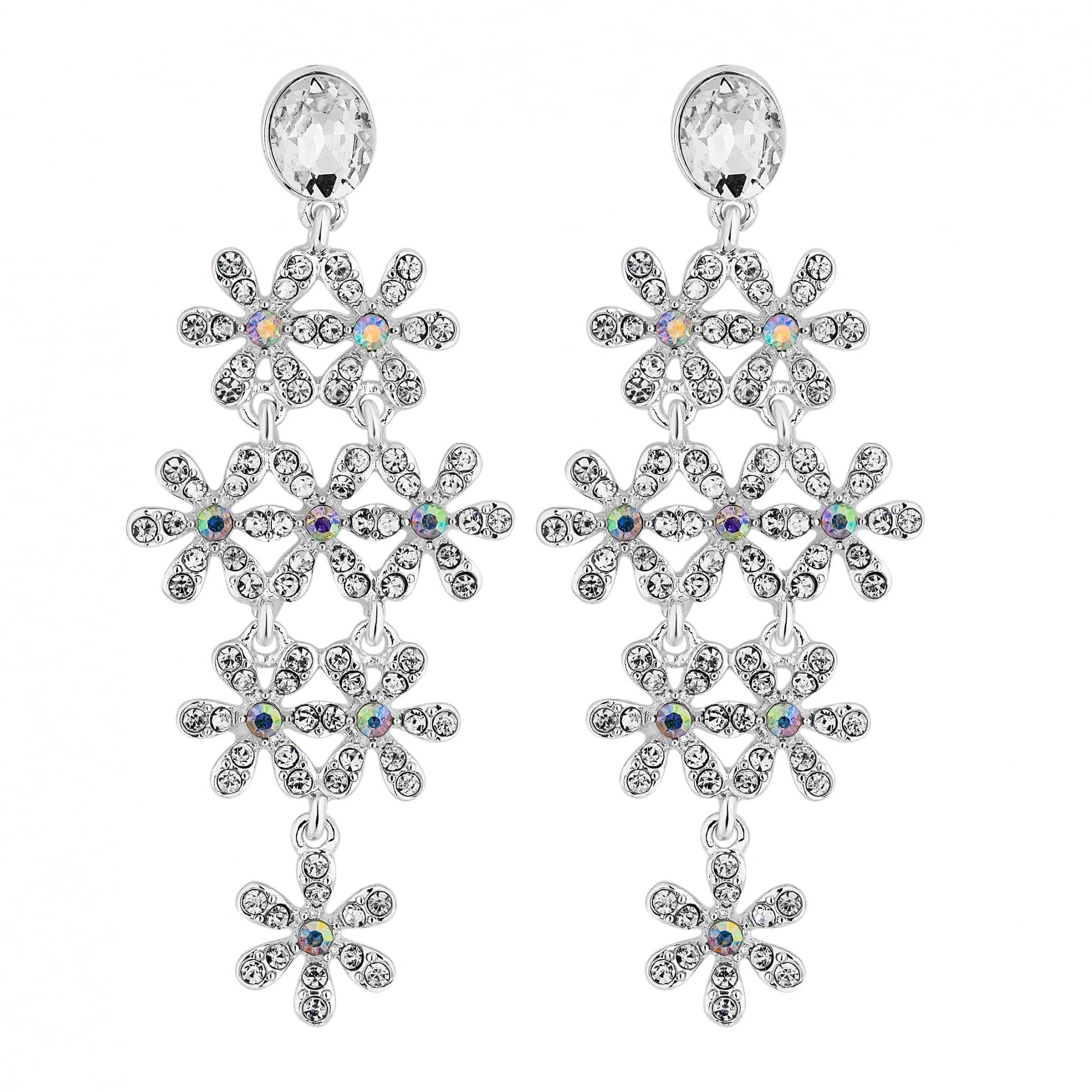 Silver Crystal Daisy Drop Earrings