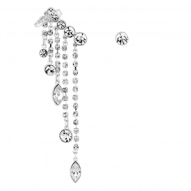Silver Crystal Droplet Ear Cuff Set
