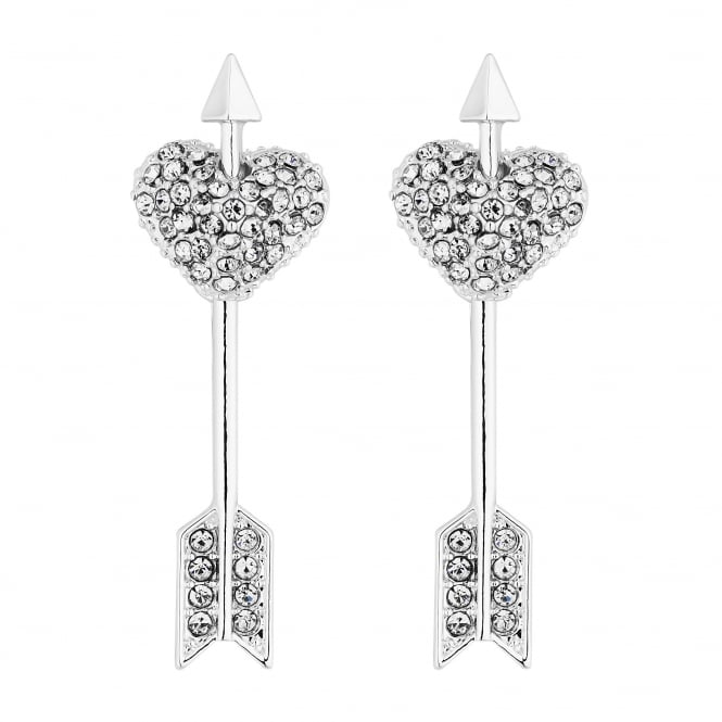Lipsy Silver Crystal Heart And Arrow Drop Earrings
