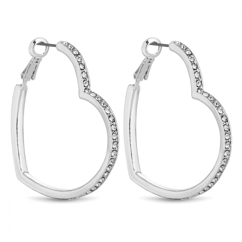 83860c047b4633 Lipsy Silver Crystal Heart Hoop Earring - Jewellery from Jon Richard UK