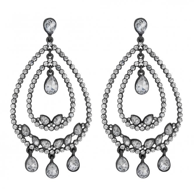 Silver Crystal Statement Hoop Earring