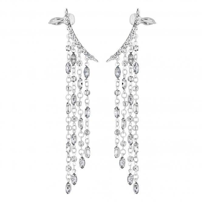 Silver Crystal Waterfall Ear Cuff Set