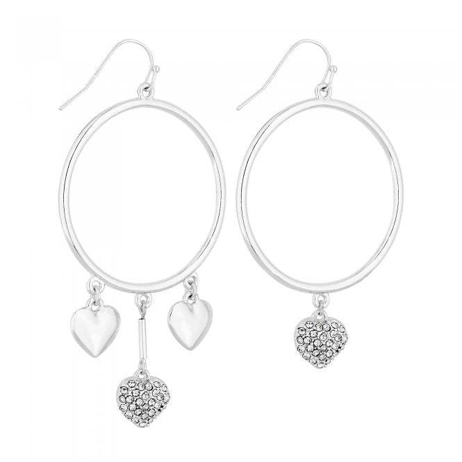 Silver Mismatched Pave Heart Hoop Earring