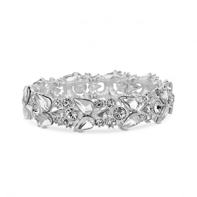 Silver Multi Shape Crystal Statement Stretch Bracelet