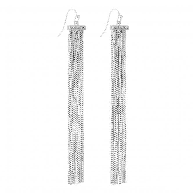 Silver Pave Bar Tassel Drop Earring