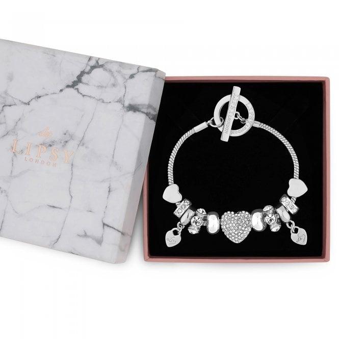 Silver Pave Crystal Heart Charm Bracelet