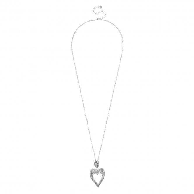 Silver Pave Crystal Heart Long Necklace