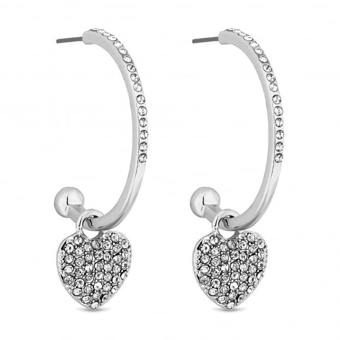Silver Pave Heart Hoop Earring