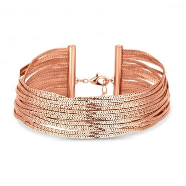 Rose Gold Multi Chin Slinky Choker Necklace