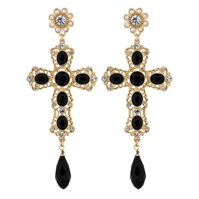 Gold Black Statement Cross Drop Earring