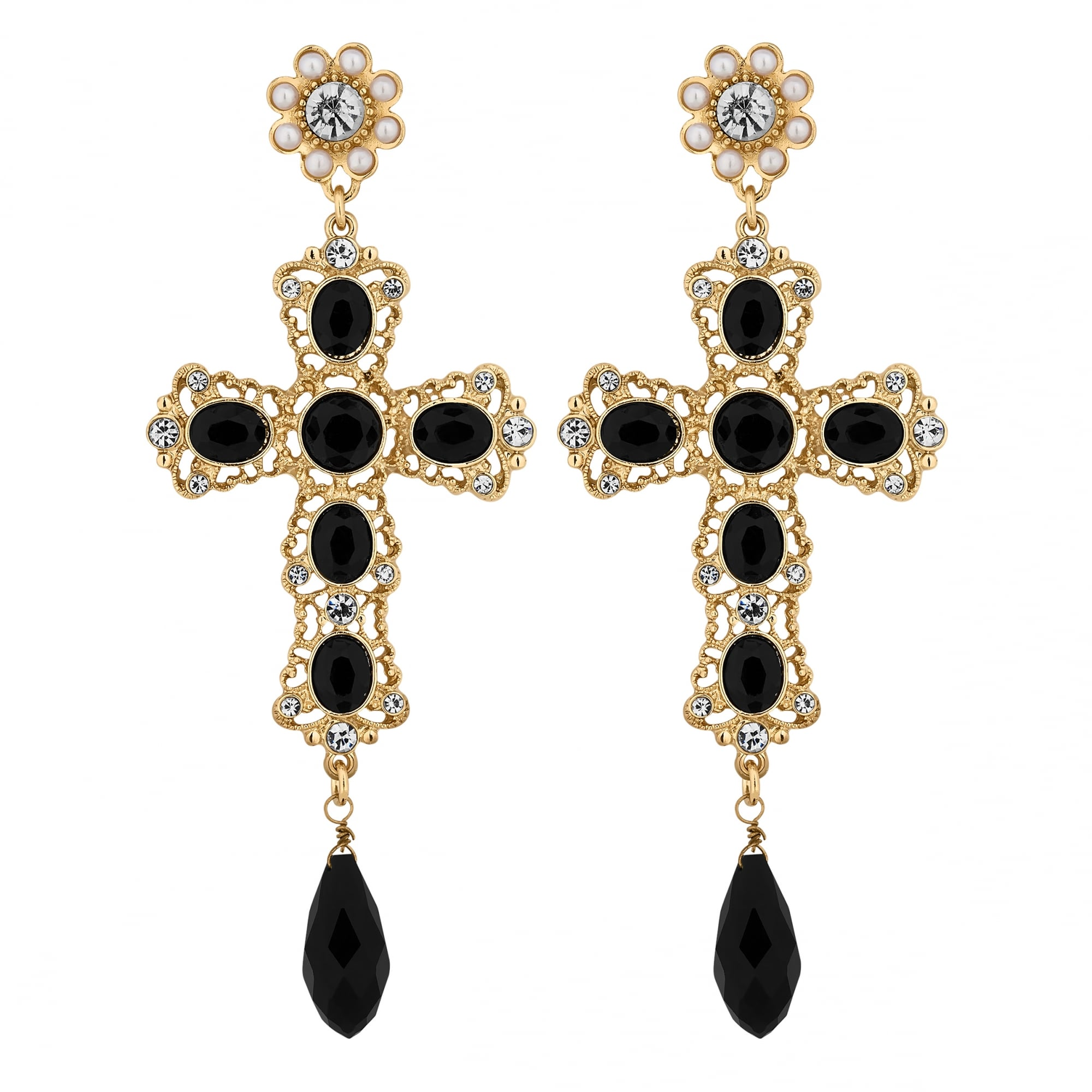 Lipsy Gold Black Statement Cross Drop Earring - Jewellery