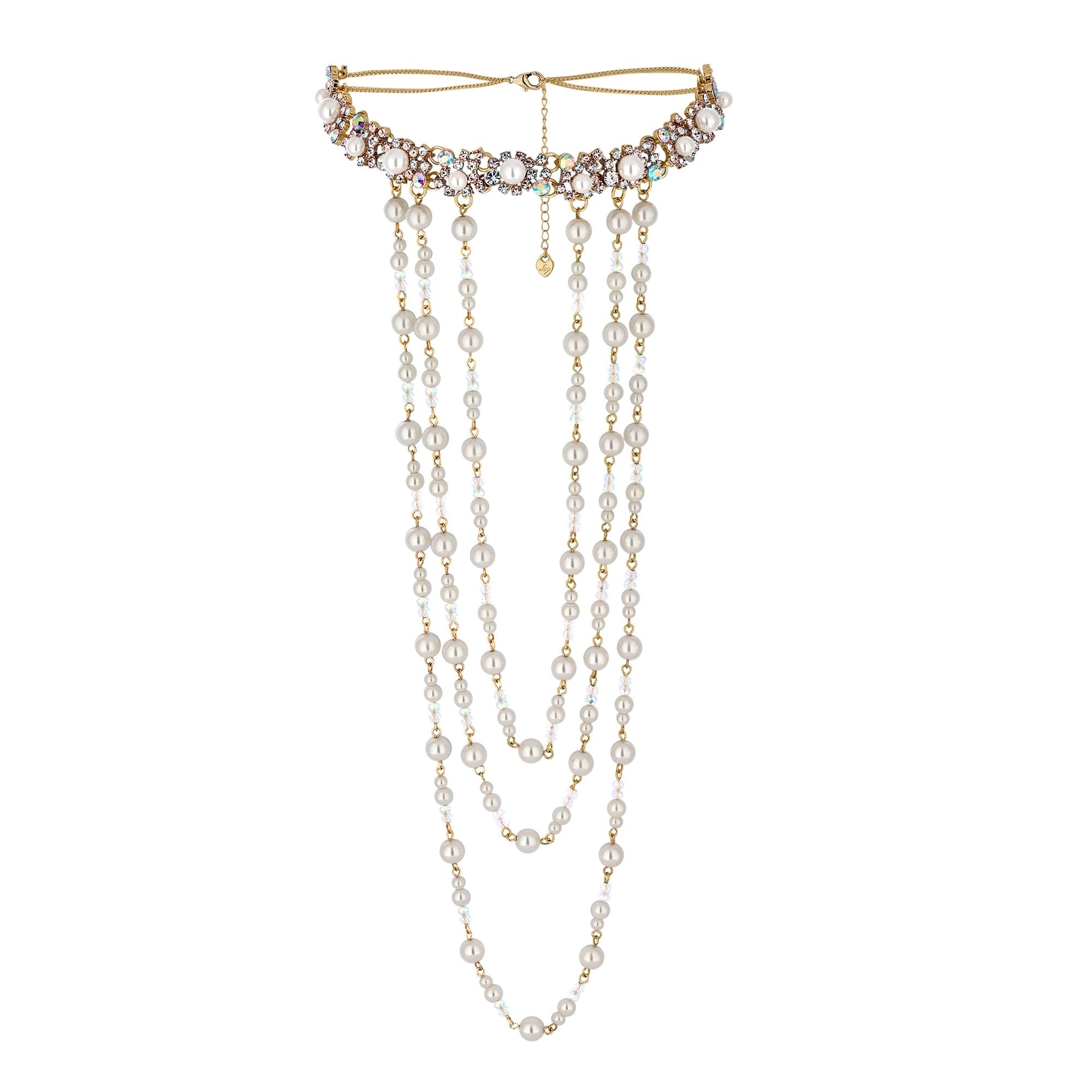 Lipsy Gold Pearl Statement Layered Choker Necklace